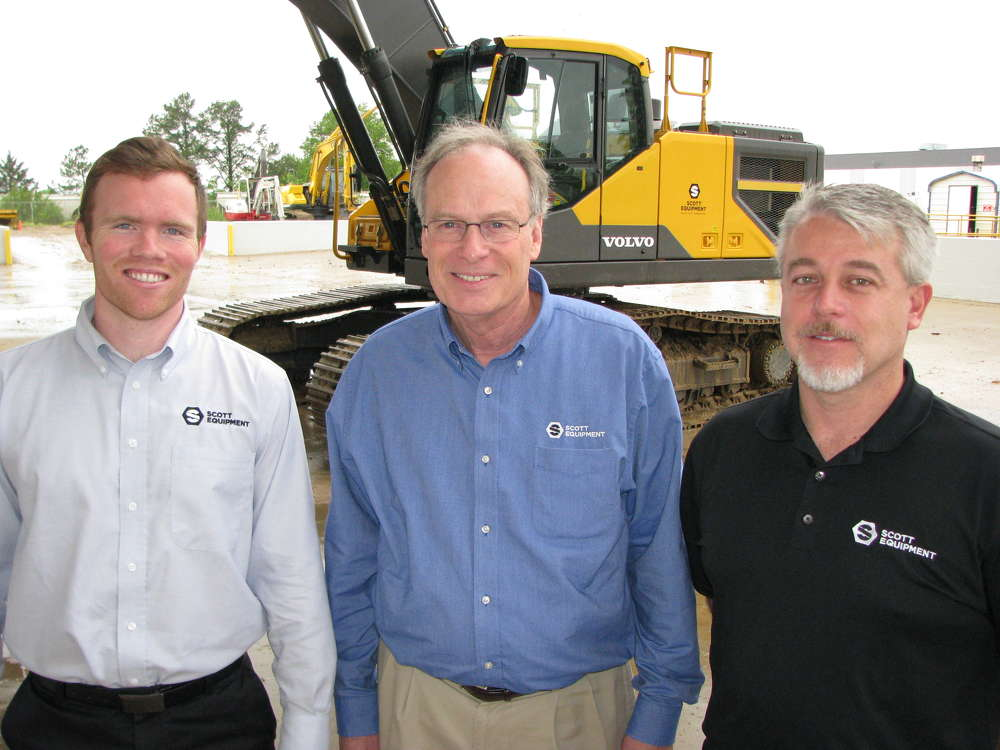 (L-R) are Zac Helms, Scott Equipment Memphis branch manager; Clint Bailey, retired branch manager; and Jeremy Daniel, senior vice president, divisional manager at the Memphis, Tenn., location, Scott Equipment.
