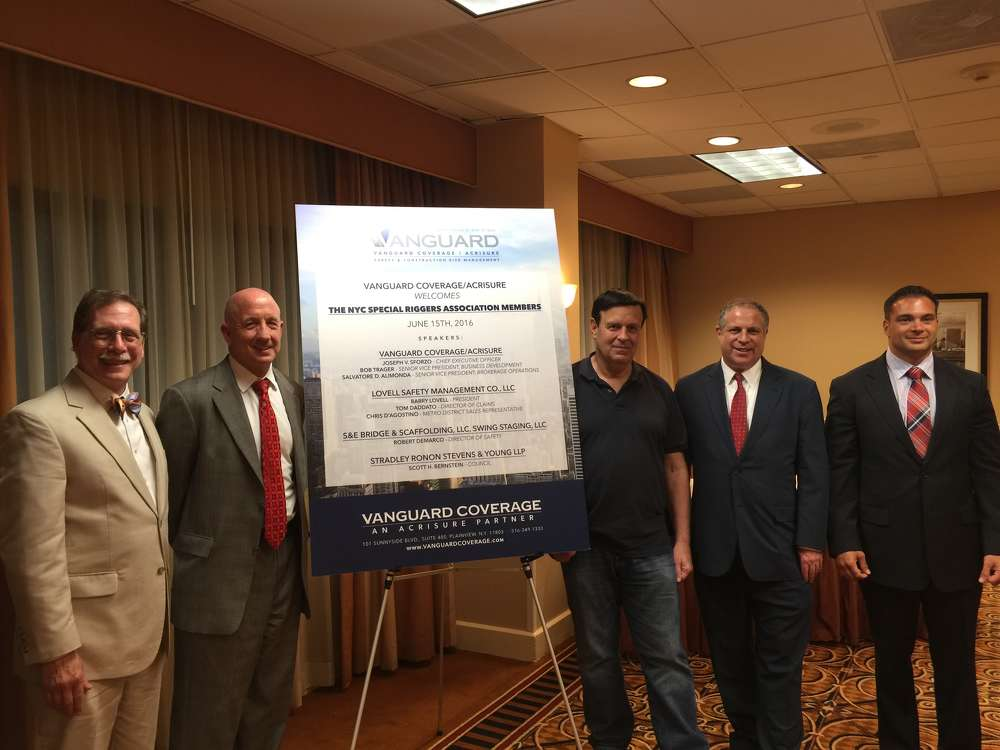 (L-R) Ken Buettner, York Scaffold Equipment Corp.; Robert Trager, Vanguard Coverage/Acrisure; John Pantanelli, NYC Special Riggers Association; Barry Lovell, Lovell Safety Management; Chris D'Agostino, Lovell.
