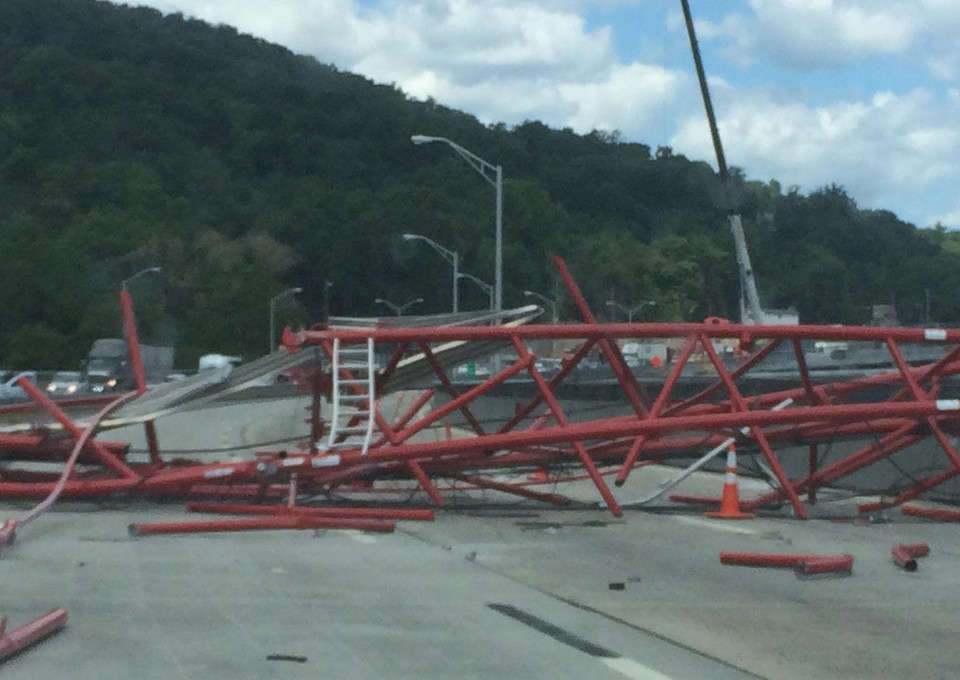 Image courtesy of Facebook. A crane collapsed on the Tappan Zee Bridge closing all lanes shortly before noon on Tuesday.