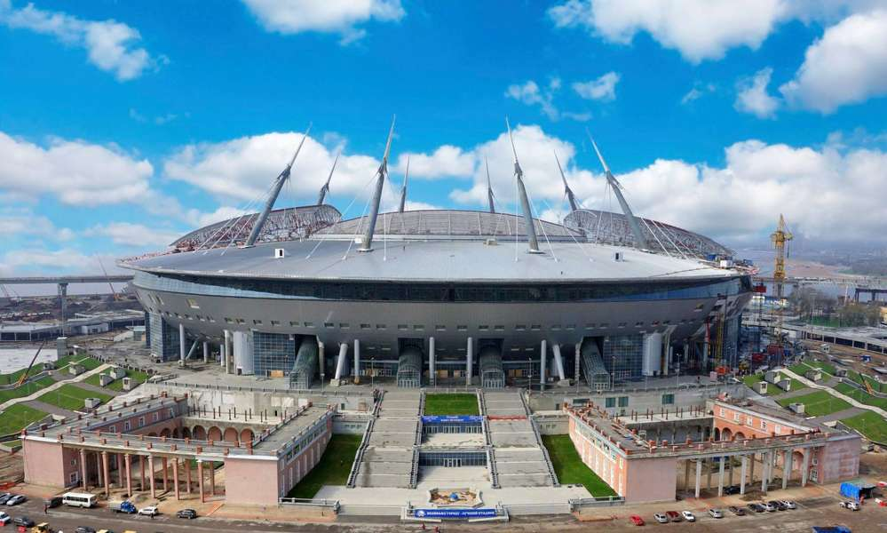 Image courtesy of Wikipedia.  Putin said the stadium, provisionally named Zenit Arena, and other infrastructure must be built on time.