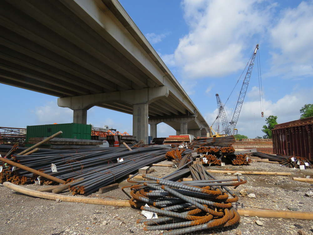 TxDOT photo. When completed, the bridge will contain three lanes in each direction.