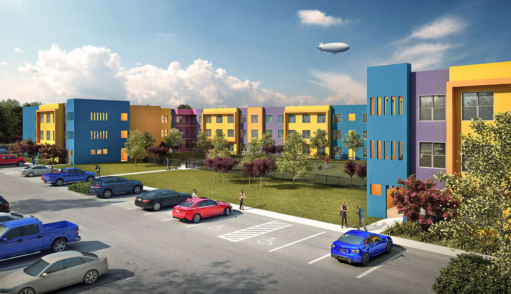 Artist's rendering of a segment of Legends Edinburg, a 310,680 sq.-ft. (28,863 sq m) upscale student residential complex, at The University of Texas Rio Grande Valley.