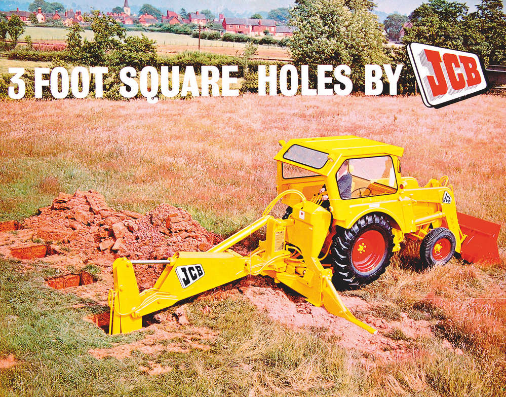 JCB photo. This 1960 advertisement shows the versatility of the JCB 4 backhoe loader. Caterpilla