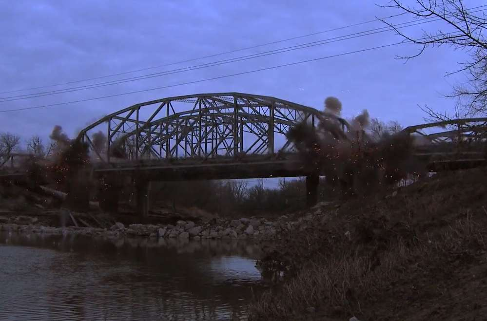 ODOT photo. Becco Contractors Inc. of Tulsa won the bid for the job and began work in July 2015. It included the removal of two truss bridges over Bird Creek originally built in 1960.