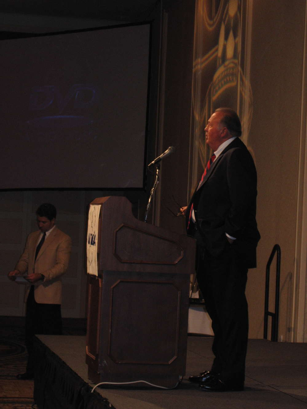 Walt Joachim introduces Pat Buchanan as the keynote speaker during the 2014 UTCA of NJ Convention.