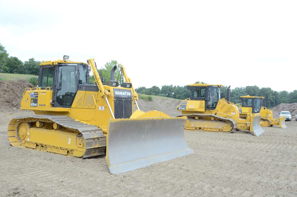 The dozers on display were set up in drag race style waiting for the attendees to lay some grade.