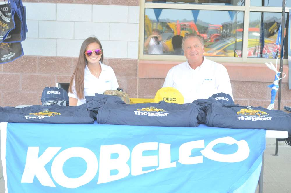 Brittany Self, warranty specialist, and Terry Ober, district business manager, both of Kobelco, were all smiles as they waited for guests.