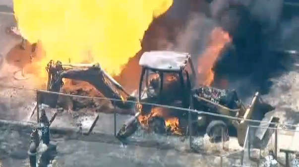 Video captured on the scene shows an eruption of flame that consumed the machine.