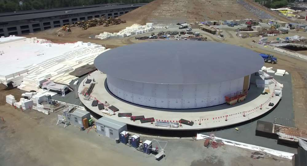 The 120,000 sq. ft. (11,148 sq m) [1,000 seat] corporate auditorium nears completion.