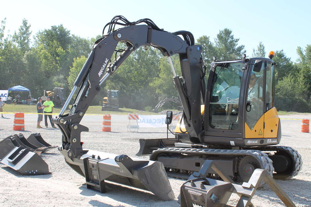 Using Mecalac's Active Lock quick coupling system, an operator can covert the machine from an excavator to a skid steer attachment in 10 seconds.