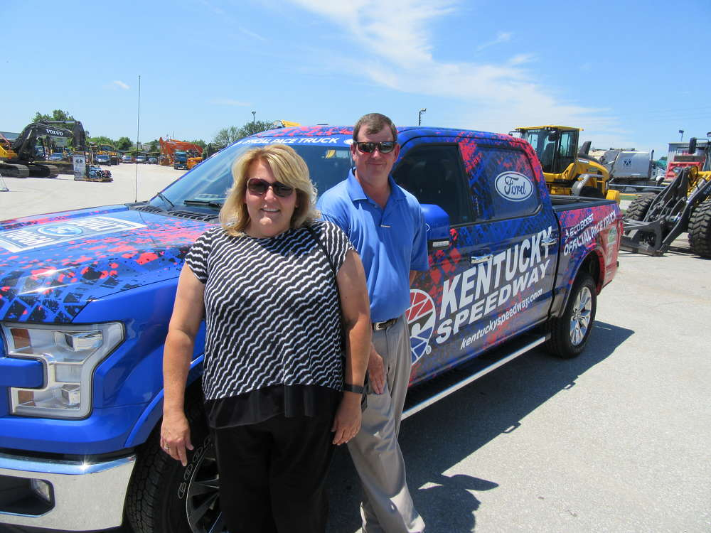 Tonya Hornsby, Kentucky Speedway sales and marketing director, joins Jamie Terrill III, Louisville branch vice president of Rudd Equipment Company, for a closer look at the racetrack's official pace truck.
