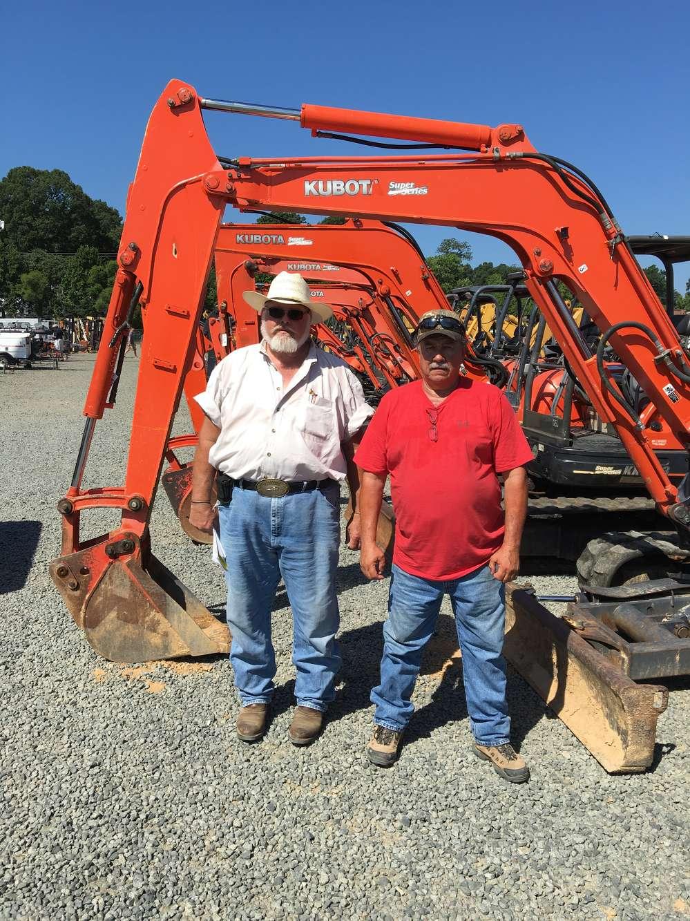 J.B. Preslar (L), J.B. Preslar Trucking in Monroe, N.C., and Alan Shaw, Alan Shaw Grading in Charlotte, shop the selection Kubota excavators.