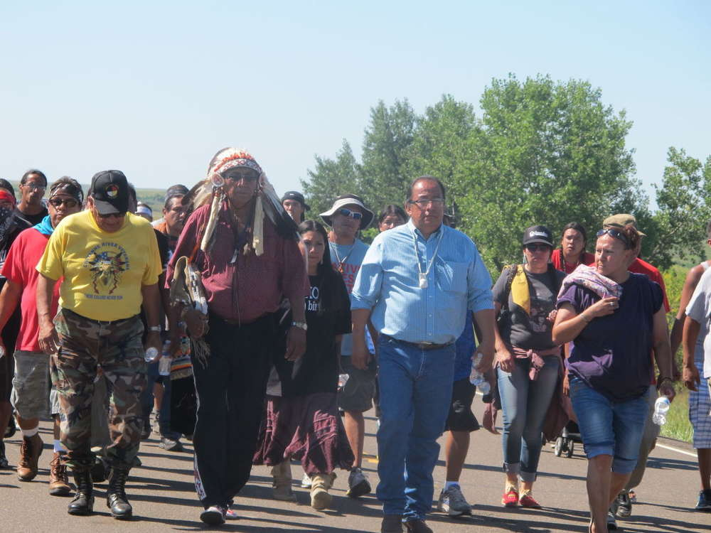 Hundreds of Standing Rock Sioux tribal members and supporters are protesting construction of the Dakota Access Pipeline near the reservation boundary. (Bismarck Tribune photo)