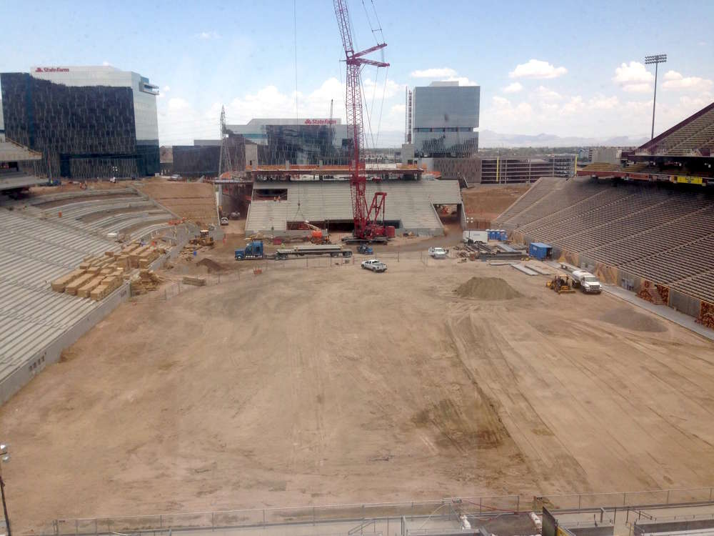 Most of the Phase II work is being done on the north and west sides of the stadium.