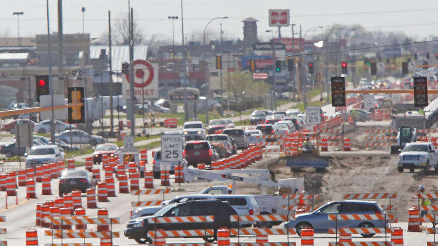 Construction along 13th Ave. S. is just one of the many cone zones in Fargo this summer. North Dakota's construction accounts for higher a percentage of North Dakota's economy than in any other state and has for three years running, according to a new report. (David Samson / The Forum photo)