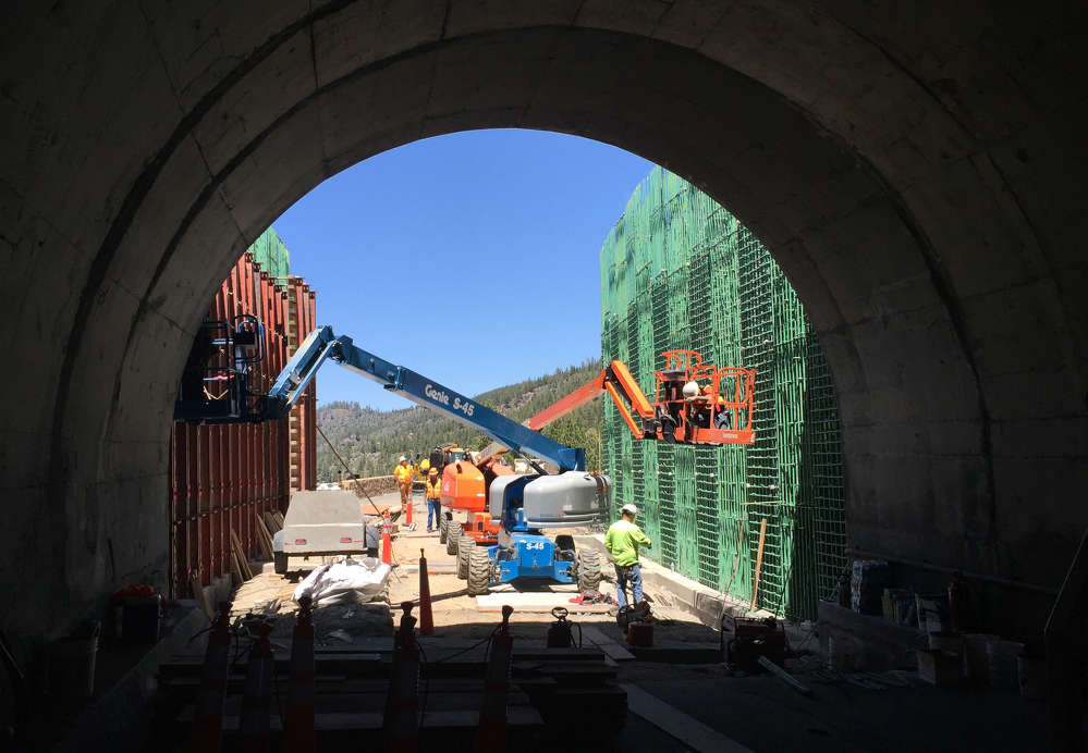 NDOT photo. In response to rock falls in the Lake Tahoe Basin, the Nevada Department of Transportation is overseeing construction of a tunnel extension on U.S. 50.