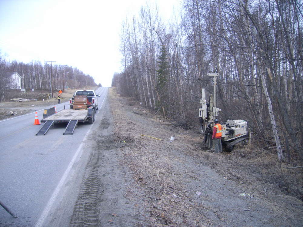 State of Alaska Department of Transportation photo In order to design the embankment for the Glenn Highway upgrades, geotechnical exploration is necessary to gather data that will assist the design team in learning about the ground conditions throughout the project corridor.