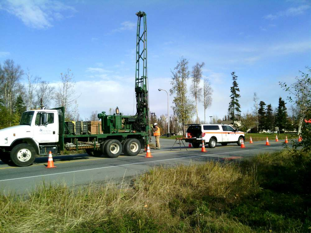 State of Alaska Department of Transportation photo In addition to drilling in more open areas, crews will conduct core drilling to make a tiny hole in the asphalt to learn about the soil underneath existing roadways.