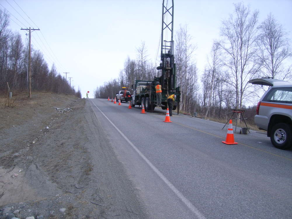 State of Alaska Department of Transportation photo The information from drilling is used to tweak the design before letting it to bid. Here, crews use a 75 CME Truck mounted drill rig to gather important information