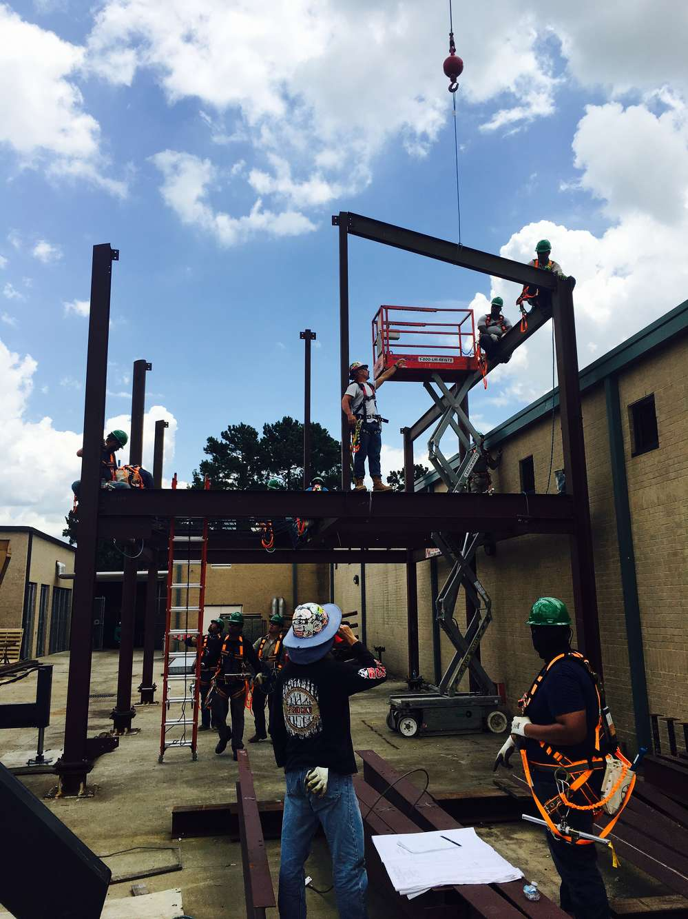 A training tower provides real-world experience for learning ironworking skills in a safe, controlled environment.