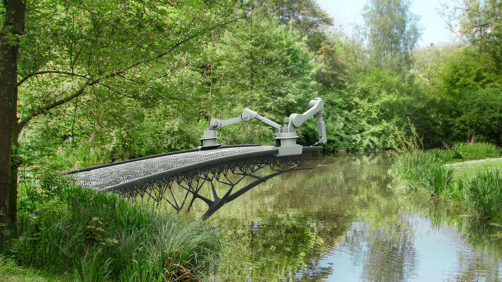 A 3D printed steel bridge across a canal in Amsterdam.