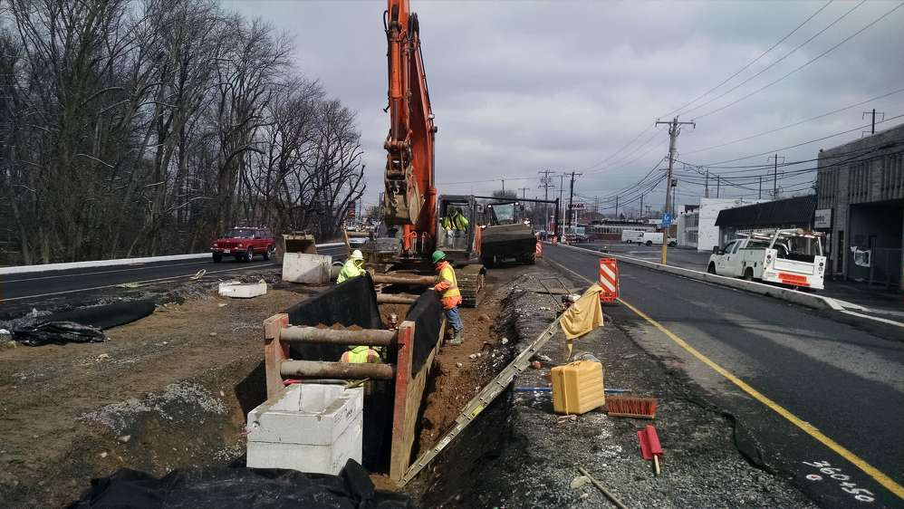 PennDOT photo. Drainage system improvements include the installation of several stormwater management basins that are crucial to ensuring that the water is properly retained and treated before being released into the canal and surrounding waterways.