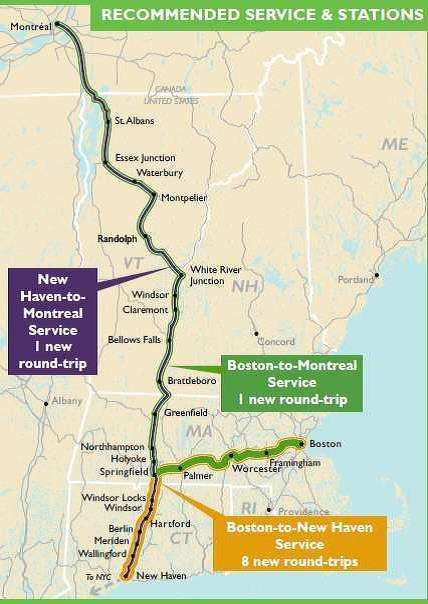 The Initiative proposes to restore service between Boston and New Haven through Springfield and Hartford and add new service between Boston and Montreal.
