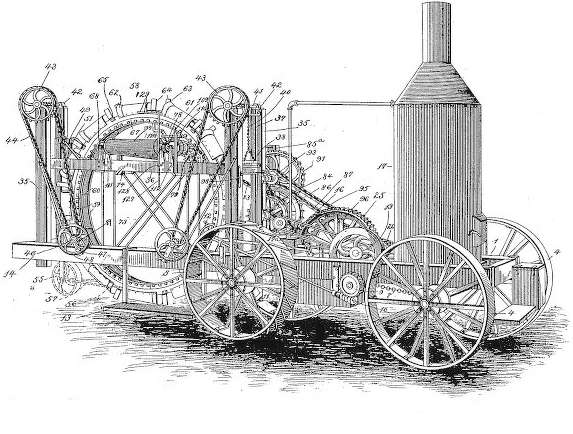 "Patent drawing of James B. Hills ""Traction Ditching Machine."""