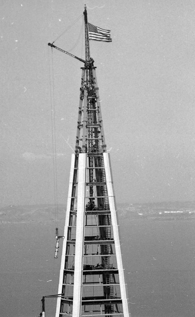 Topping off ceremony at the Transamerica Pyramid Building Photos shot 03/29/1972