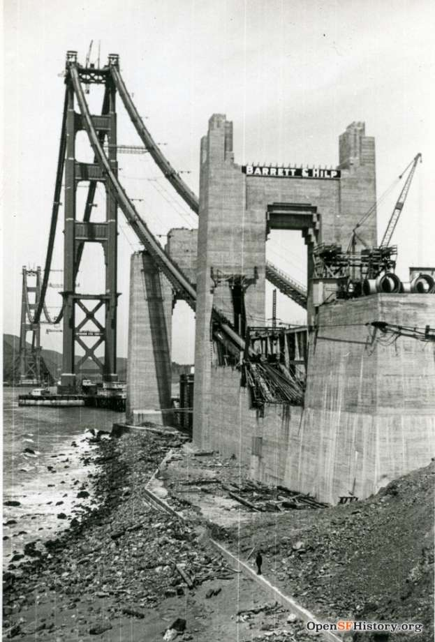 Golden Gate Bridge Under Construction circa 1936. Southern anchorage. Courtesy of OpenSFHistory.org.