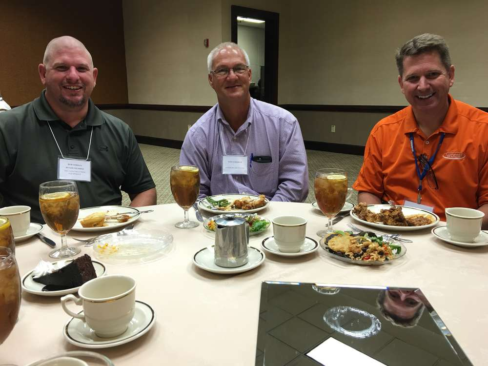 (L-R) are Rob Jordan, ASC Construction Equipment; Kim Markham, Asheboro Recycling; and Bill Abraham, Company Wrench.