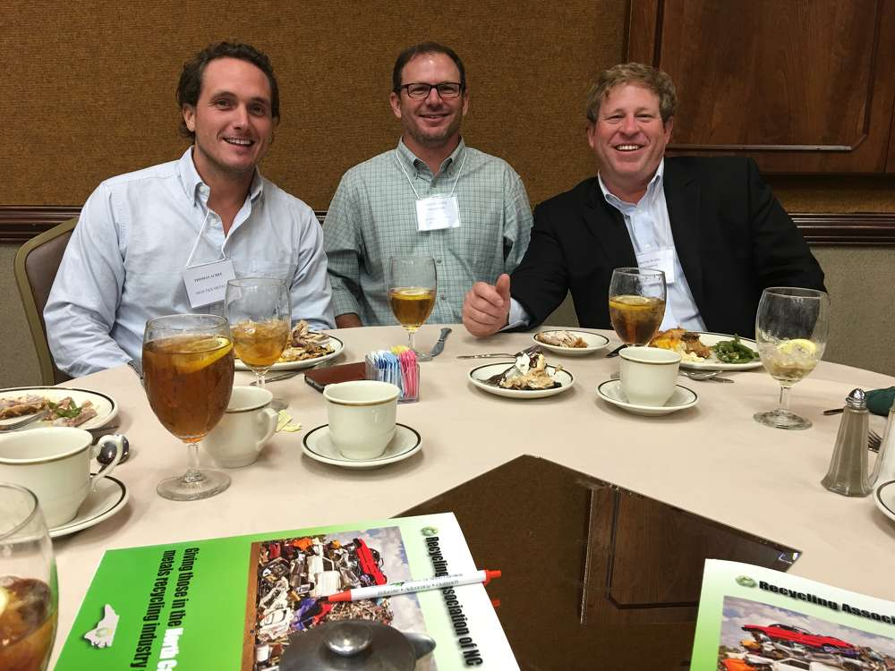 (L-R): Thomas Acree, High Tide Metals; Jeremy Alper, Southern Metals Recycling; and Travis Ward, Regional Metals Recovery and RANC president, talk during lunch.