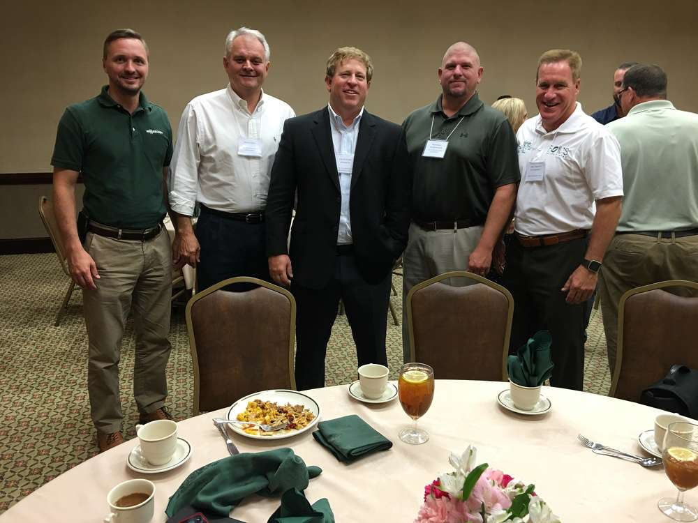 (L-R): Andreas Ernst, Sennebogen; Shawn Sweet, ASC Construction Equipment; Travis Ward, Regional Metals Recovery; Rob Jordan also of ASC Construction Equipment; and Mike Torrence, Foil's Inc., attend the event.