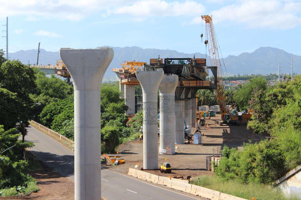 Honolulu Transit photo. Columns await span erection along Farrington Highway.