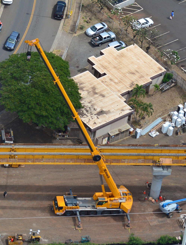 Honolulu Transit photo. Crews prepare the underslung truss to begin guideway construction headed west towards Aloha Stadium.