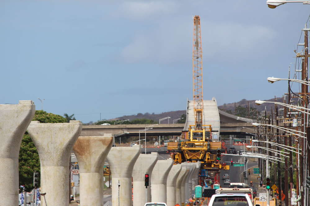 Honolulu Transit photo. Guideway spans are placed on columns along Farrington Highway.