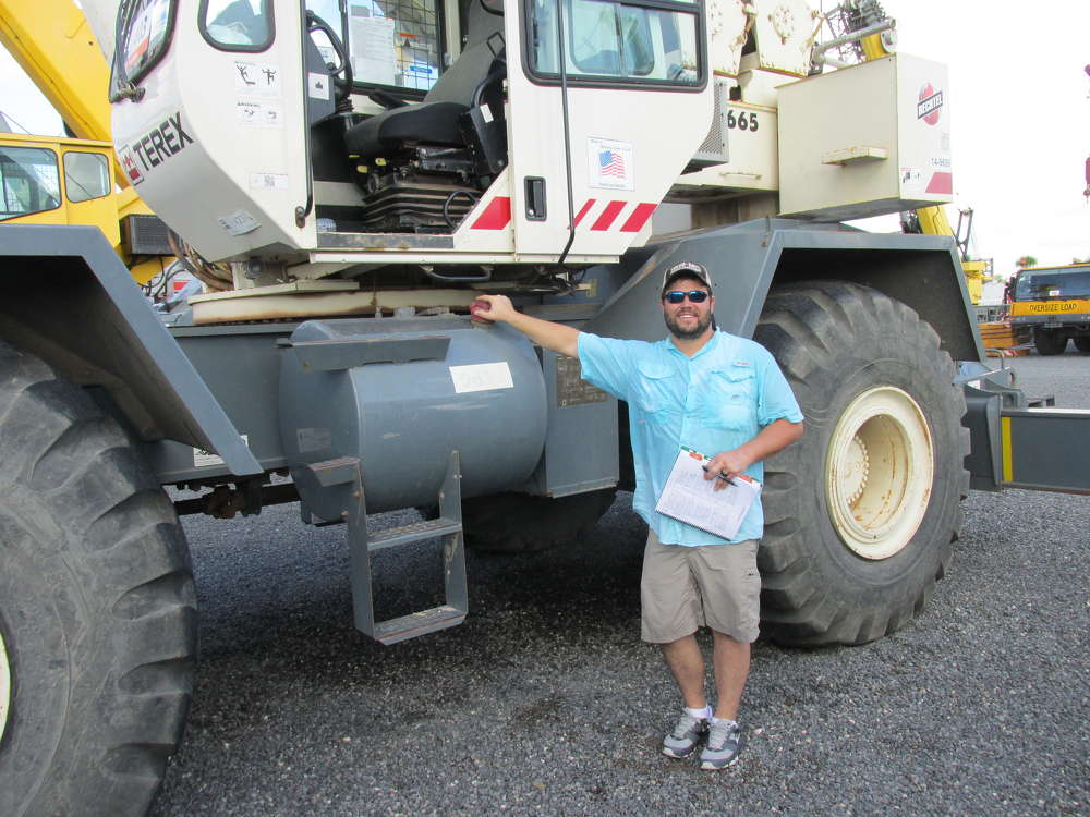 Clint Carter of MS Industries in Russellville, Ala., has decided to bid on this Terex 665 RT crane to use on an upcoming construction project.