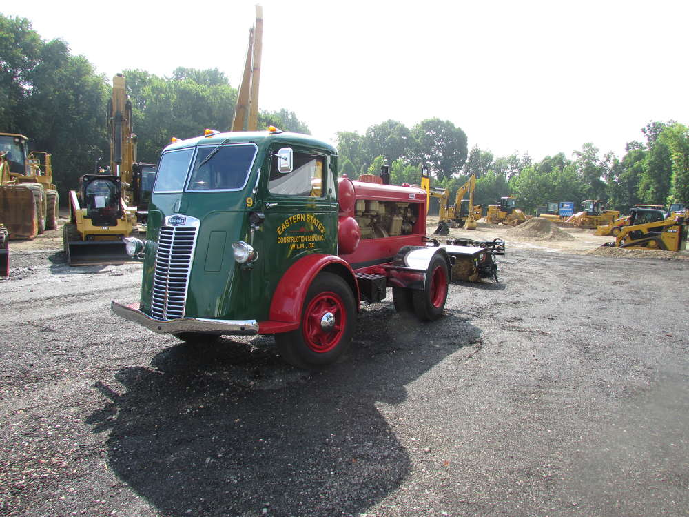 The Ransome CAT sale featured a 1940 Schramm diesel air compressor truck on display.