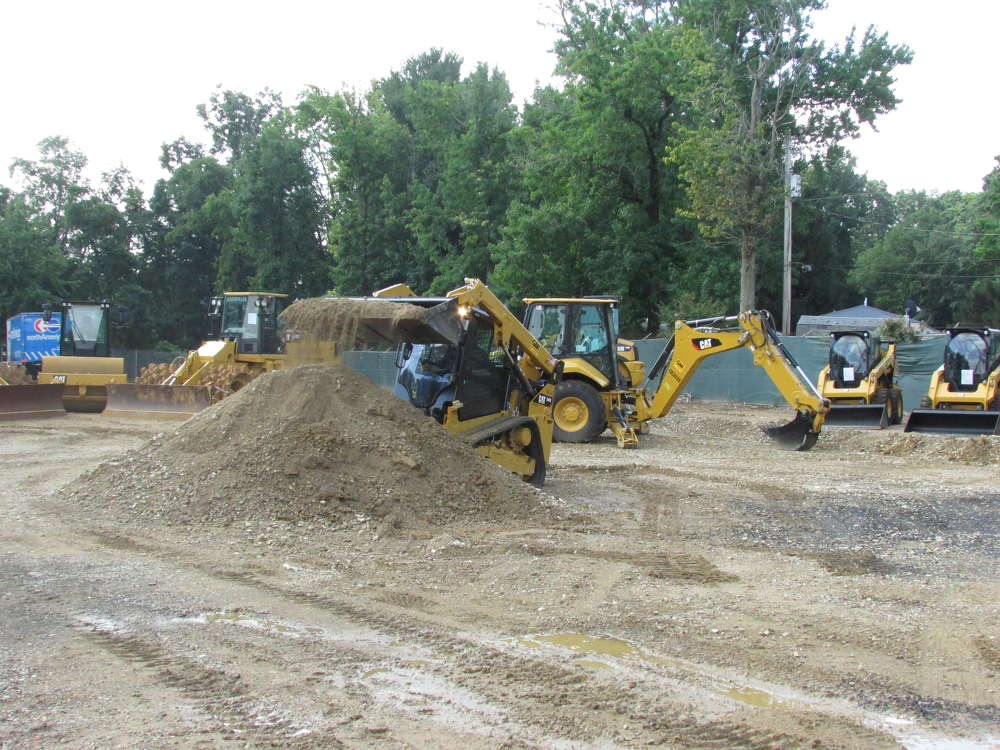Peter Criscuolo, Greggo and Ferrara Group, Newcastle, Del., tests this Cat 249D compact track loader.