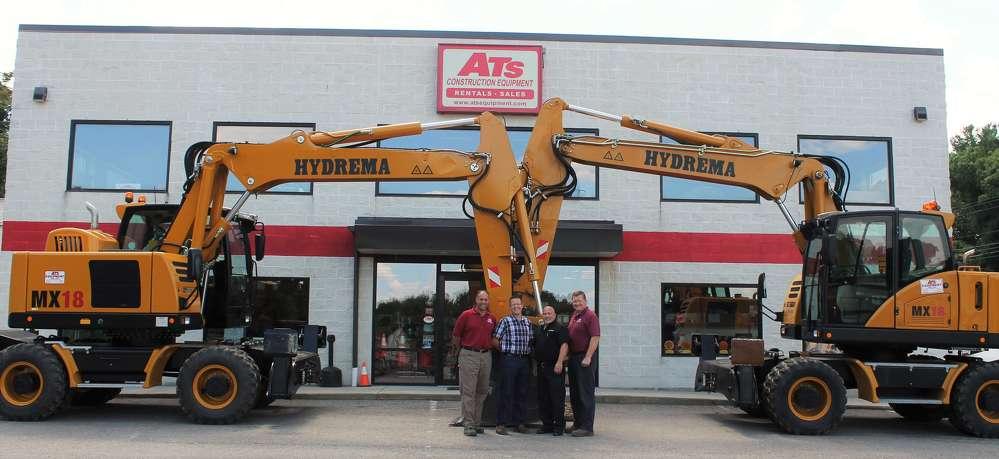 (L-R): David Kidd, general manager of ATS Equipment; Kresten Binder, executive vice president of Hydrema — North America; Scott Becker, regional business manager of Hydrema; and JC Connolly, ATS Equipment.