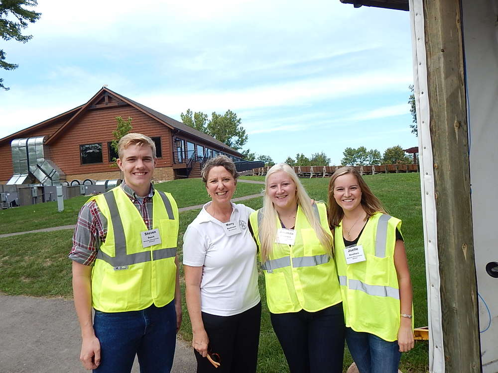 (L-R): Scholarship recipients and members of the AGC were on hand, including Steven Dueck, MSU Moorhead; Amanda Comstock, MSU Mankato; Merry Beckmann, director member services,  AGC of Minn.; and Joelle Struthers, construction management, MSU, Mankato.