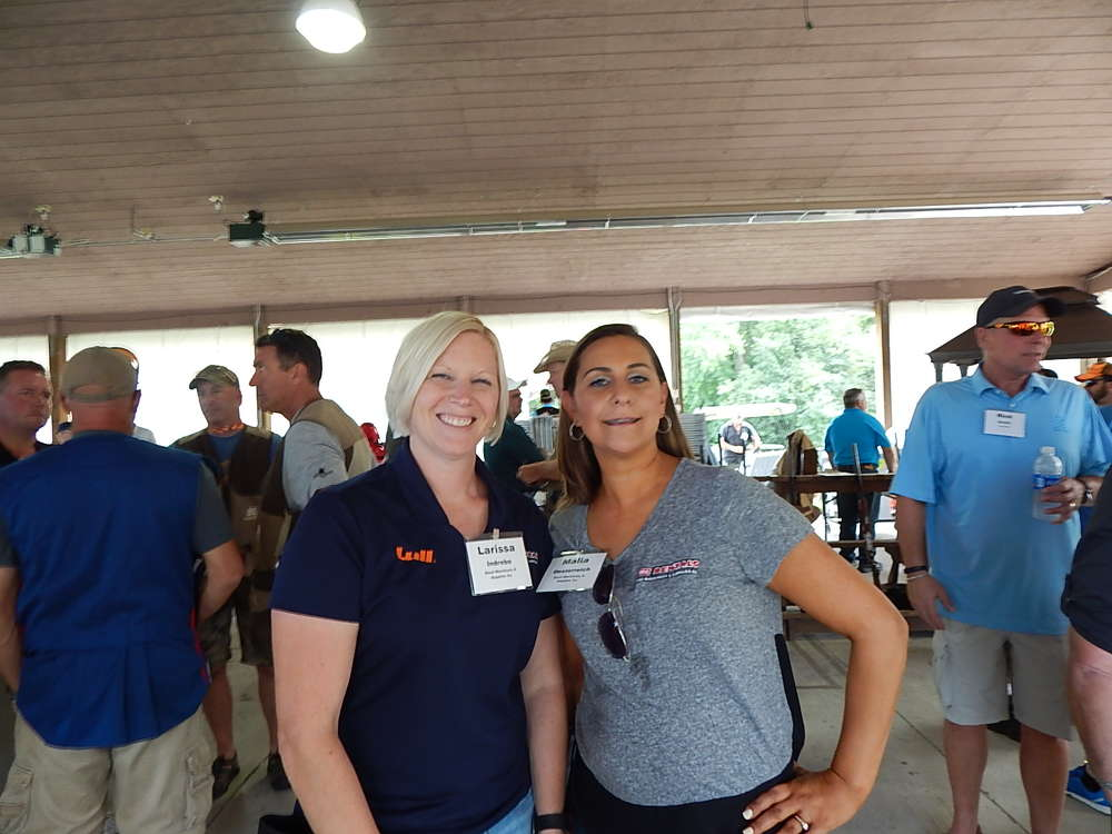 Larissa Indrebo (L), sales and rental coordinator, and Malia Oesterreich, territory sales manager, both of RMS Rentals Group, Savage, Minn.