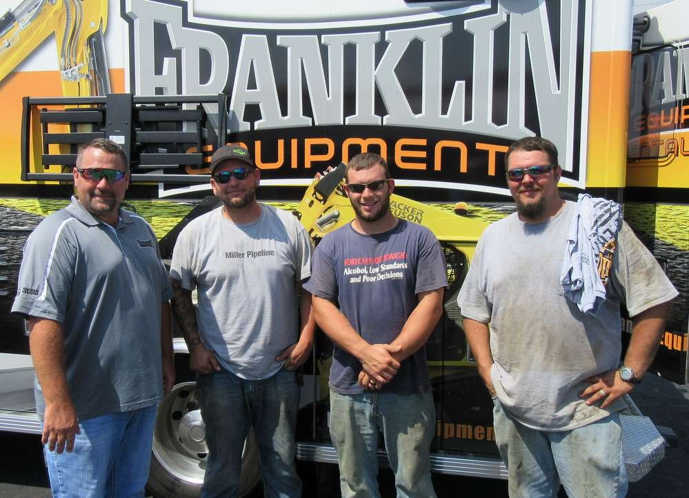 (L-R): Stacey Garman, Franklin  Equipment, catches up with Brandon House, Jimmy Kreitzer and Tyler Burton, Miller Pipeline, at the event.