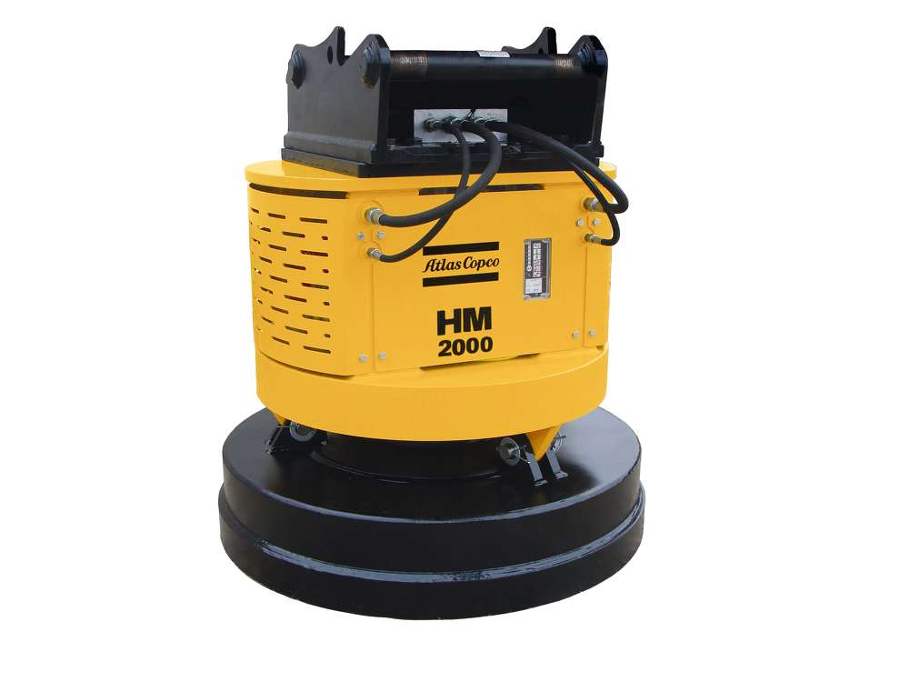 Hydraulic magnet attachments, such as Atlas Copco's HM 2000, feature onboard, hydraulically-driven generators that rapidly energize the magnet to attract as much as 16,535 lbs. (7,500 kg) of ferrous metals.