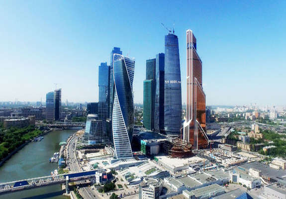 The Kremlin's hope is for developers to complete Moscow City (seen in this rendering), a modern office district similar to Canary Wharf and La Défense, in time for the 2018 FIFA World Cup, according to Bloomberg.