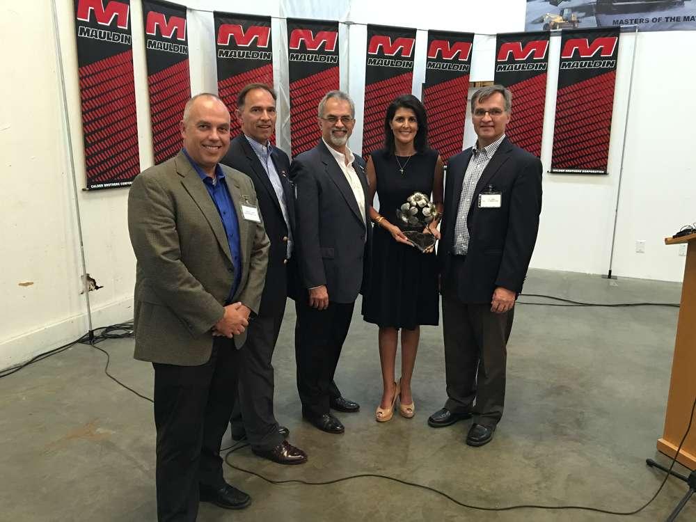 Cameron, Glen, Wayne and David Calder were very appreciative of Gov. Nikki Haley for visiting their company.