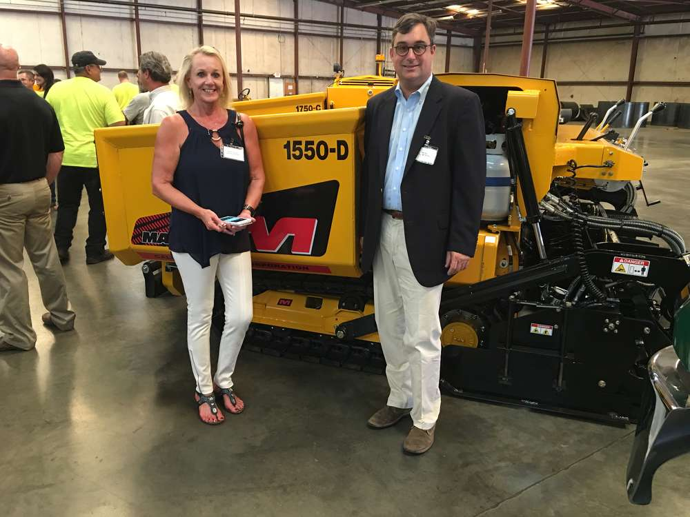 Lynne Venesky, Venesky Asphalt Paving in Greenville, S.C., talks with Jim Hills, Hills Machinery, the Mauldin dealer of the Carolinas.  Venesky Asphalt Paving has several Mauldin Paving products in its fleet.