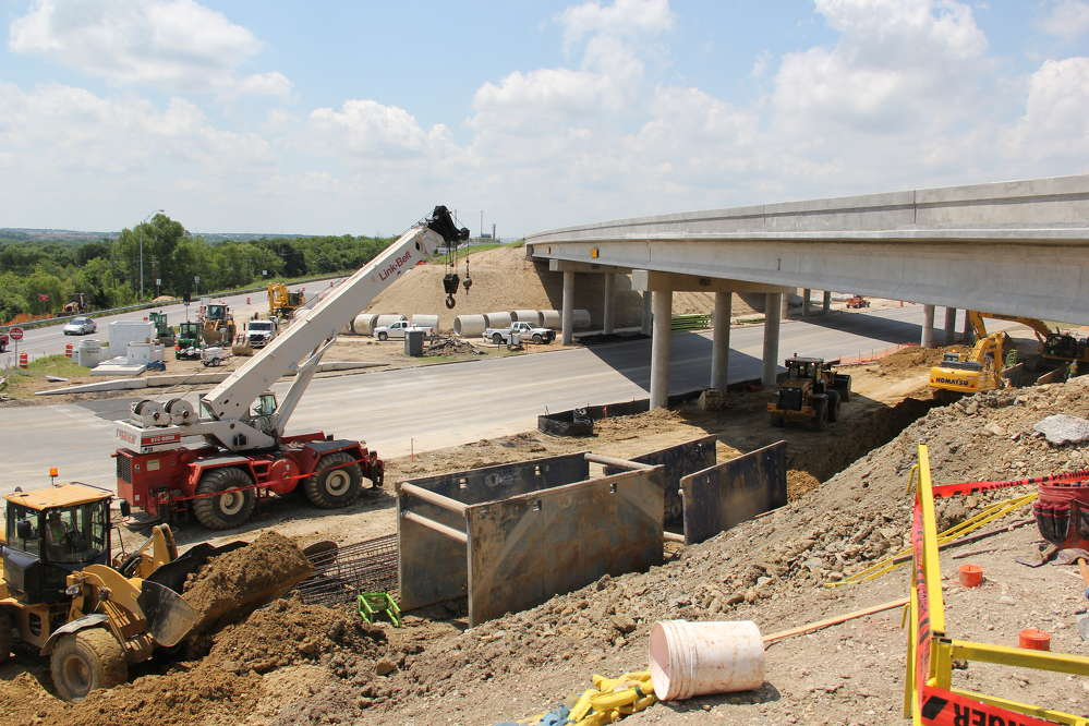 Central Texas Regional Mobility Authority photo. Crews work on drainage for the U.S. 183 South project near the Manor and Springdale roads overpass.
