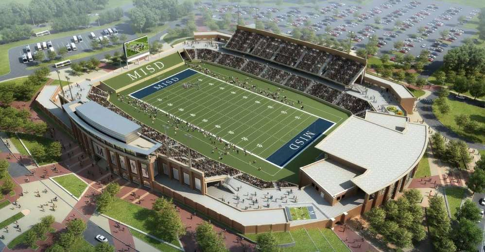 Image courtesy of the McKinney Independent School district. An artists's rendering of what could be the most expensive high school stadium ever built.