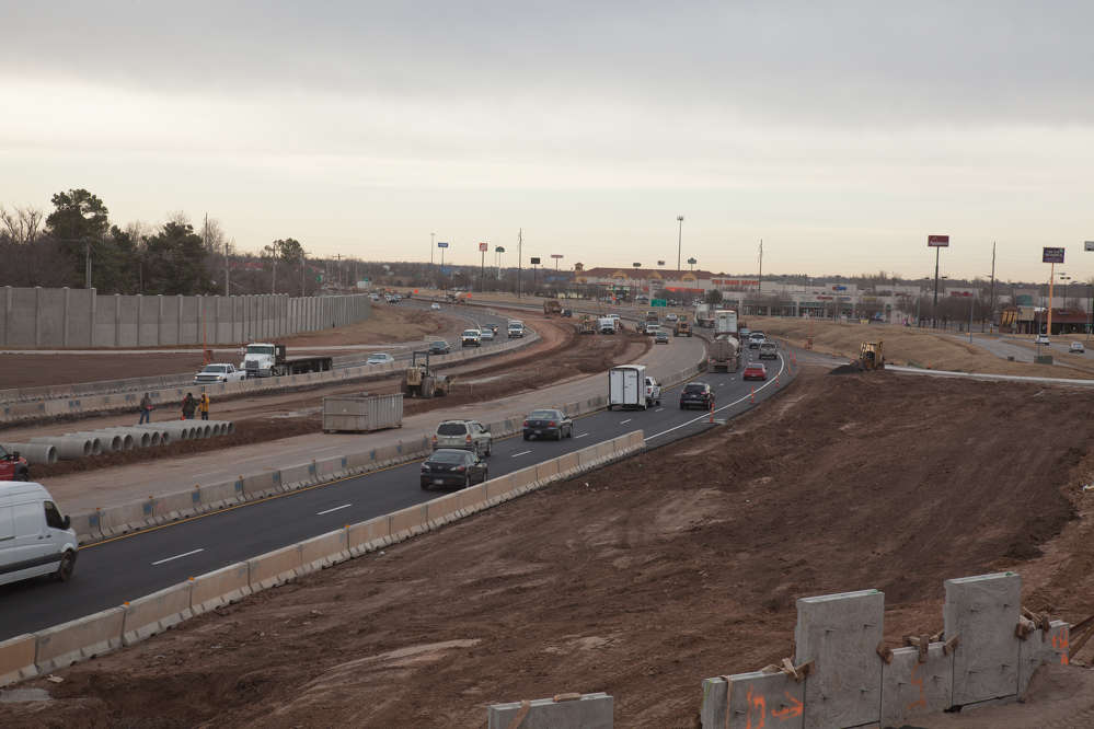 ODOT photo. More than 155,000 vehicles travel I-35 in the Norman area daily. I-35 and the interchanges at Lindsey Street and SH-9 east were originally constructed in 1967.